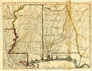 Map of Alabama and Mississippi in 1817