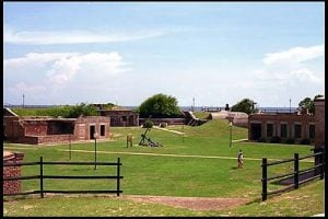 A view of the interior of Fort Gaines. The brick buildings are part of the original post, serving as barracks, kitchen facilities, and the other needs of the post.