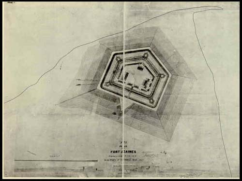 This plan of Fort Gaines shows the general shape and outline of the fort. You can also see the outline of the tip of the island where the fort is located as it was when the fort was constructed.