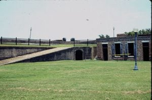 The ramp in the center provides access to the barbette level of the fort. The tunnel under the ramp gives access through the rampart to the bastion.