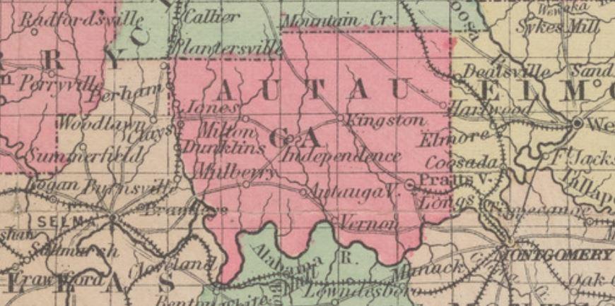1884 Map of Autauga County Alabama