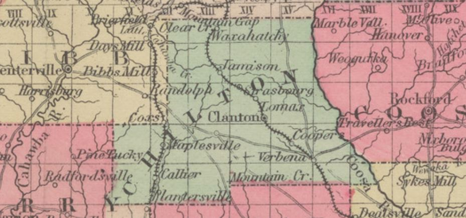 1884 Map of Chilton County Alabama