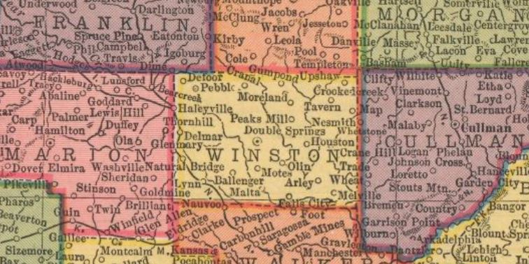 Winston County cutout from the 1910 Hammonds Atlas of the World