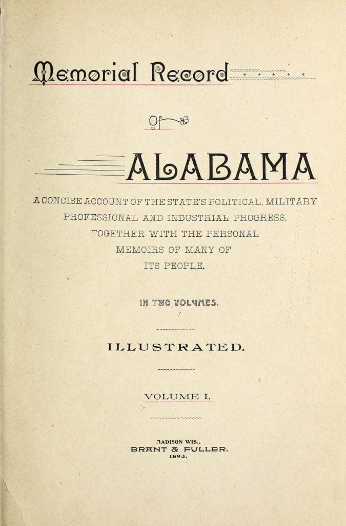 Memorial record of Alabama